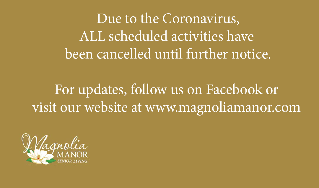 Activities Cancelled - Coronavirus