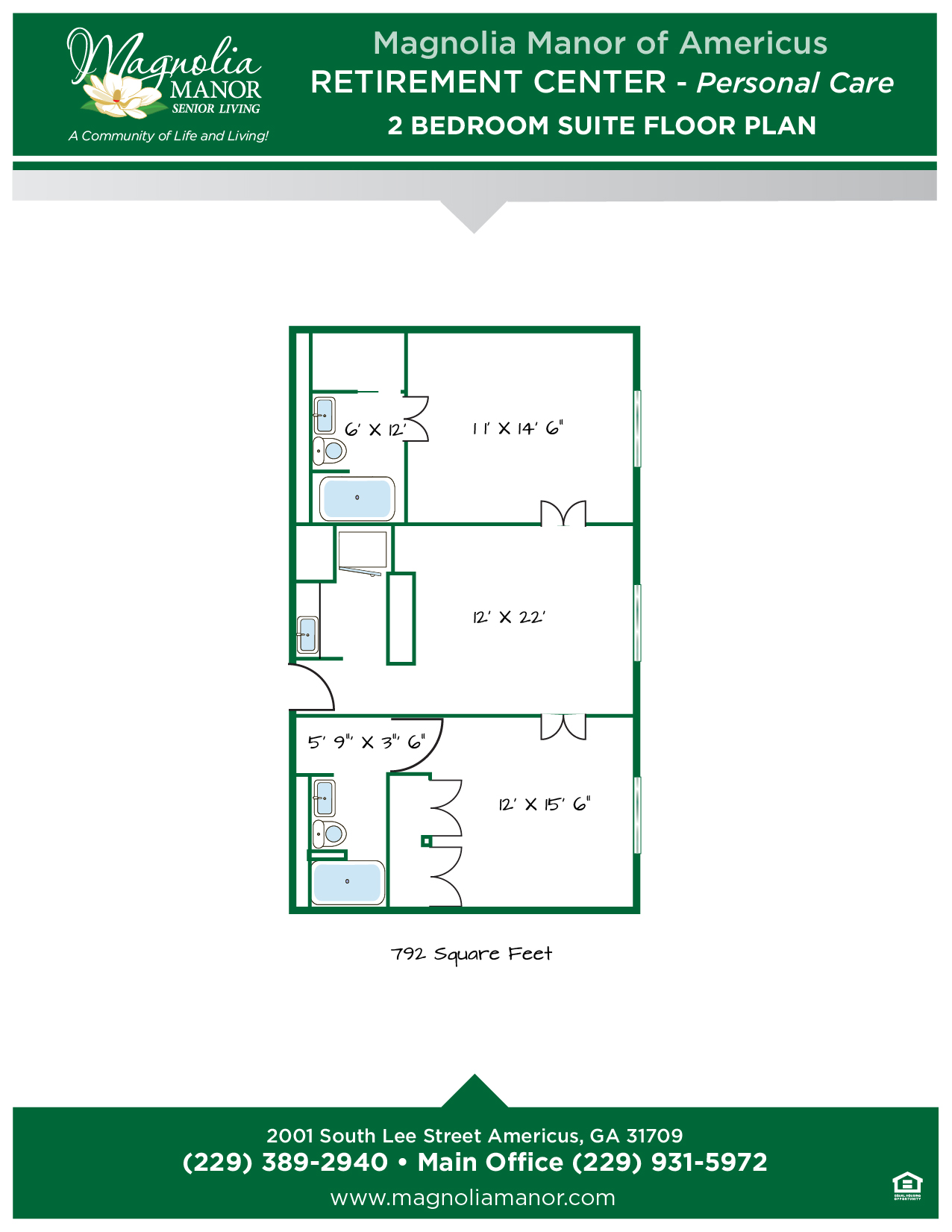 00344 AMERICUS Floor Plan RC 2 Bedroom Suite -01