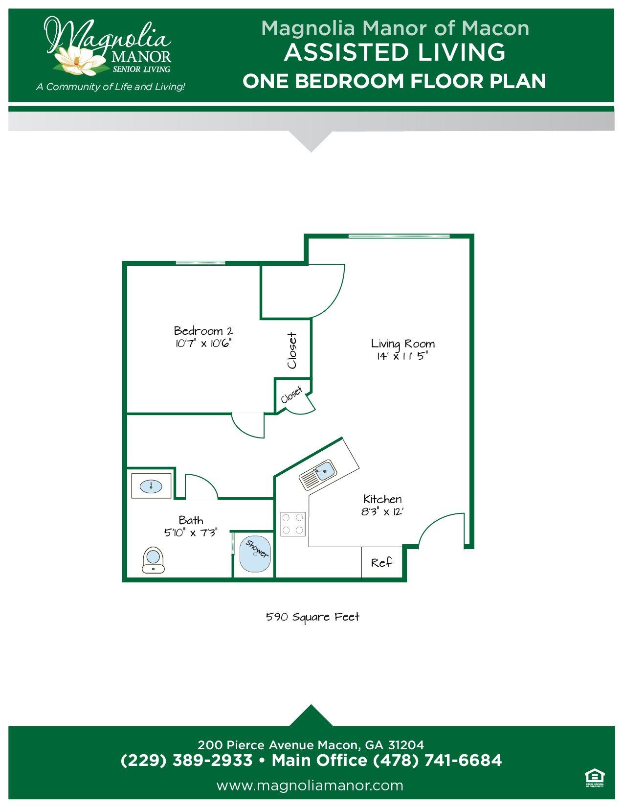 00344 MACON AL Floor Plan One Bedroom-01