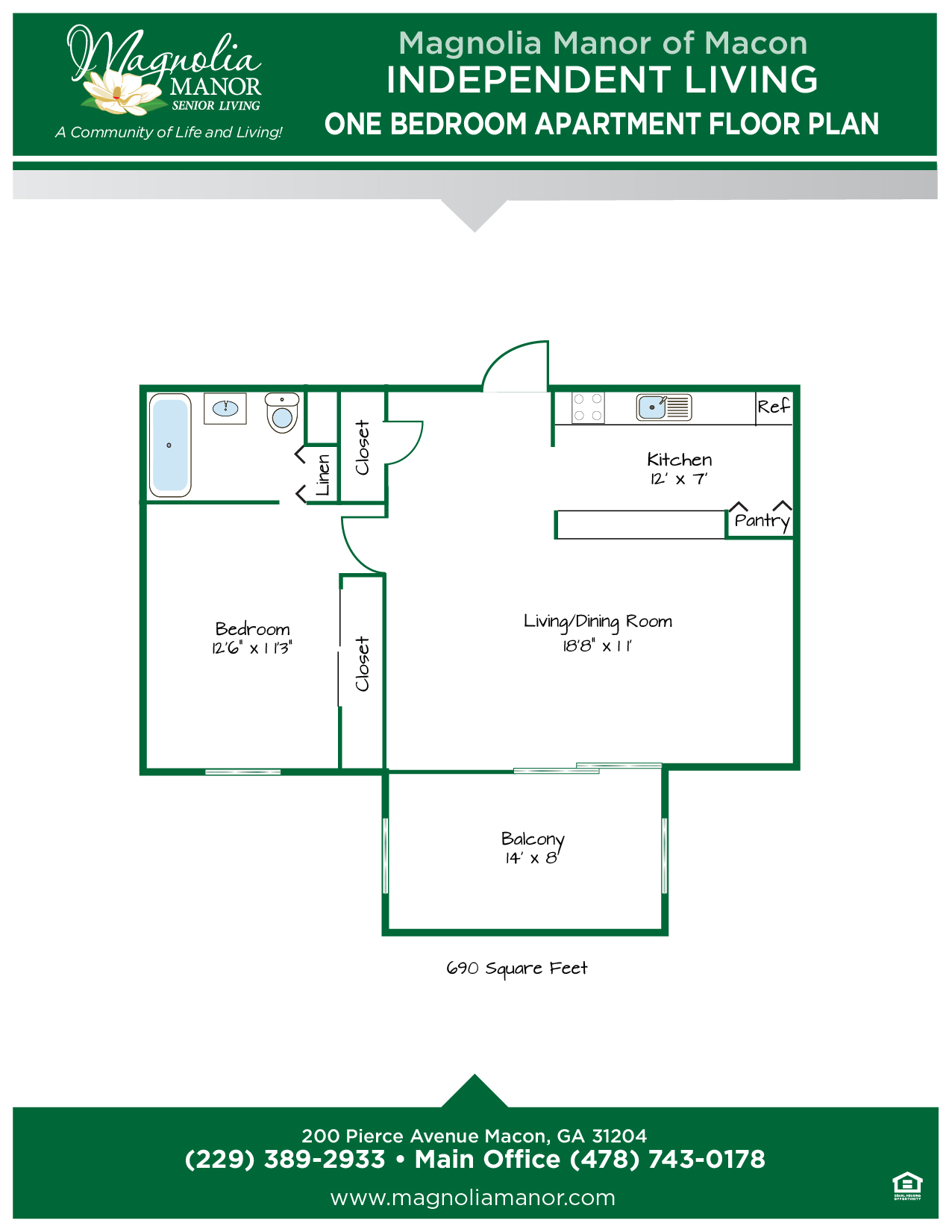 00344 MACON IL Floor Plan One Bedroom-01