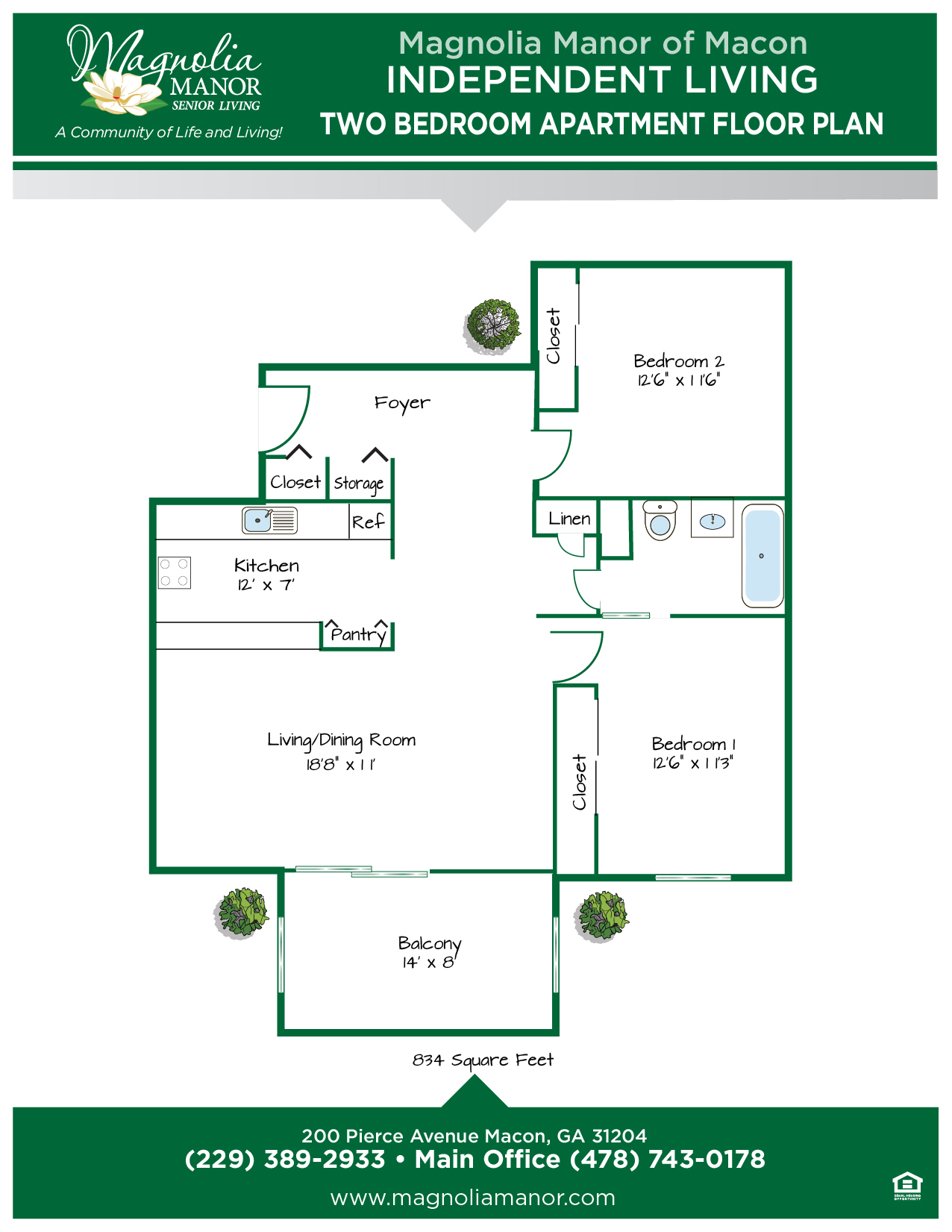 00344 MACON IL Floor Plan two Bedroom Apt-01