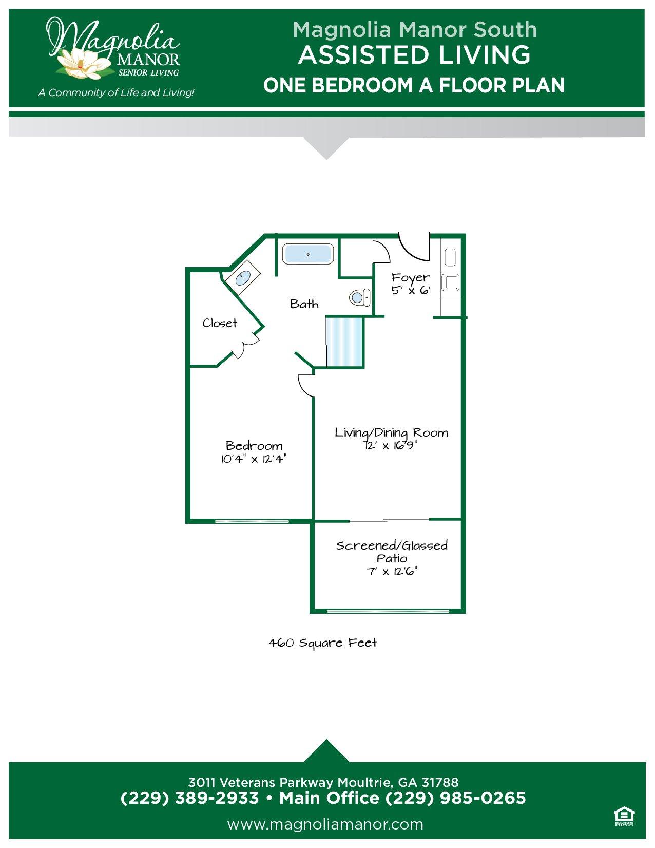 00344 MOULTRIE AL Floor Plan One Bedroom A-01